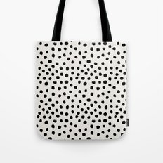Preppy brushstroke free polka dots black and white spots dots dalmation animal spots design minimal Tote Bag