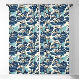 The Great Wave of Pug Pattern Blackout Curtain