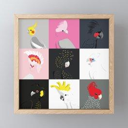 Australian cockatoos tile pattern Framed Mini Art Print