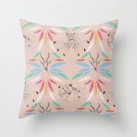 safari Throw Pillows featuring Safari by Laura Braisher