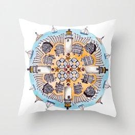 Cape Cod Mandala Throw Pillow