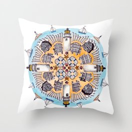Cape Cod Mandala Throw Pillow