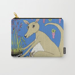 kangaroo with Australian kangaroo paw plant, green beige khaki brown orchid lime Carry-All Pouch