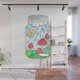 Mushrooms in Mason Jar Wall Mural
