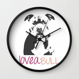 Loveabull, Pitbull Artwork, Digital Print Wall Clock
