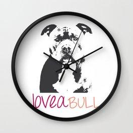 Loveabull, Pitbull Artwork, Digital Print Wall Clock