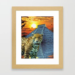 Chichen Itza Temple Guardian - South American Jaguar Framed Art Print