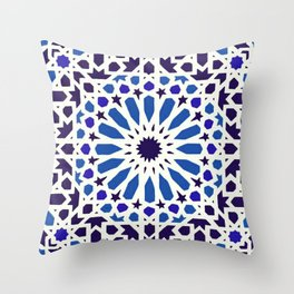 V19 Epic Light Blue Traditional Moroccan Pattern Design . Throw Pillow