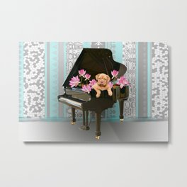 Piano with Bordeaux Bulldog and Lotos Flowers Metal Print