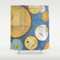 kandinsky Shower Curtains featuring doodling banjos by Beth Jorgensen