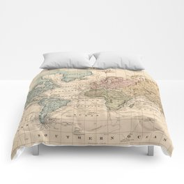 Vintage Map of The World (1823) V.2 Comforters