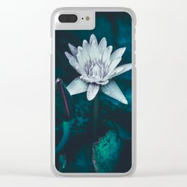 Loveliness in the Darkness. White Water Lily. Clear iPhone Case