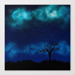 Blue Moon Night Sparkle Canvas Print