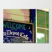 cafe Canvas Prints featuring Cafe by Glenn Designs