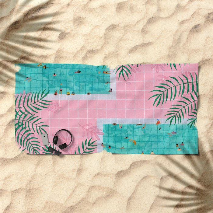 Two pool vacation Beach Towel