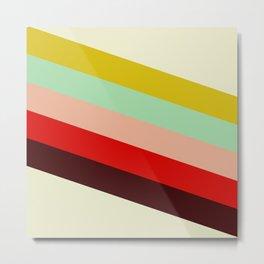 Juno - Colorful Classic Abstract Minimal Retro 70s Style Stripes Design Metal Print