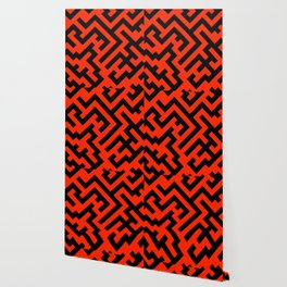 Black and Scarlet Red Diagonal Labyrinth Wallpaper