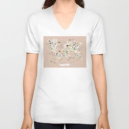 Cartoon animal world map, back to schhool. Animals from all over the world rosybrown background Unisex V-Neck