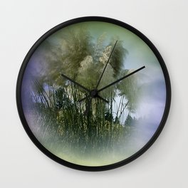 Pampas grass on textured background -1- Wall Clock