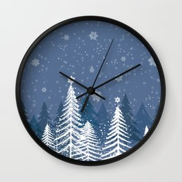 Winter Snow Forest Wall Clock
