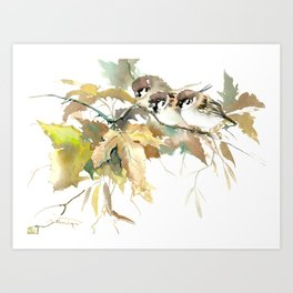 Sparrows and Fall Tree, three birds, brown green fall colors Art Print