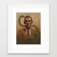 lovecraft Framed Art Prints featuring H.P. Lovecraft by Henri Scribner