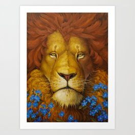 Lion Oil Painting, Animal Oil Painting on Canvas, Meditation Oil Painting, Cute Lion Wall Art Art Print