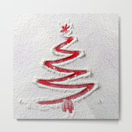 Simple Christmas Tree Hand Drawn in Snow on Red Festive Holiday Minimal Art Metal Print