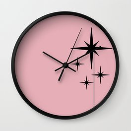 Atomic Age Retro 1950s Starburst in Black and 20th-Century Pink Wall Clock