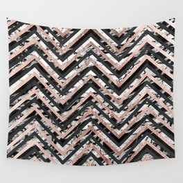 Black and White Marble and Rose Gold Chevron Zigzag Wall Tapestry