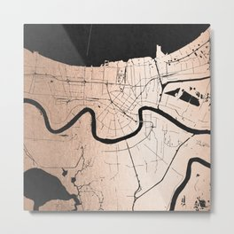 New Orleans Rose Gold and Black Map Metal Print