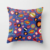 super hero Throw Pillows featuring Movie Super Hero logos by Nick's Emporium Gallery