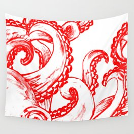 Octopus - Red and White Wall Tapestry