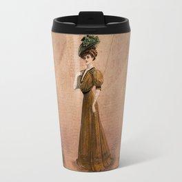 Woman in yellow dress Edwardian Era in Fashion Travel Mug