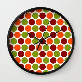 New Fall Orange Green Brown Polka Dots Wall Clock