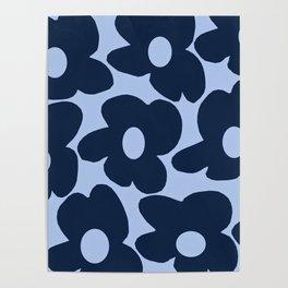 Large Dark Blue Retro Flowers Baby Blue Background #decor #society6 #buyart Poster