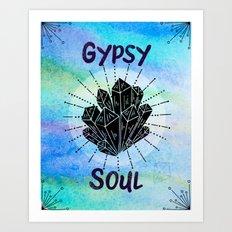 Gypsy Soul - Boho Watercolor Crystals Art Print