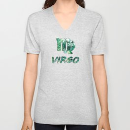 Virgo Zodiac Symbol and Word Earth Design Unisex V-Neck