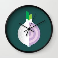 vegetable Wall Clocks featuring Vegetable: Onion by Christopher Dina