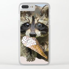 Raccoon Eating Ice-cream on the Beach | Summer Vacation | Cute Baby Animal Clear iPhone Case