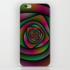 Spiral Labyrinth in Green Pink and Purple iPhone & iPod Skin
