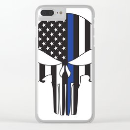 Punisher Skull American Flag Thin Blue Line Clear iPhone Case