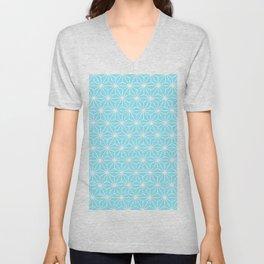 Ice Blue Geometric Flowers and Florals Isosceles Triangle Unisex V-Neck