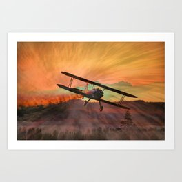 Stearman Sunset Art Print