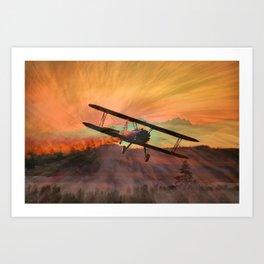 Stearman Sunset Art Print