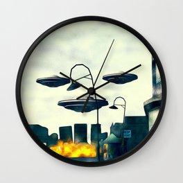 UFO Invasion Wall Clock