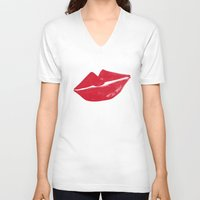 kiss V-neck T-shirts featuring Kiss by Leah Flores