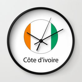 the flag of Cote d'Ivoire in the form of a circle and the name of the country Wall Clock