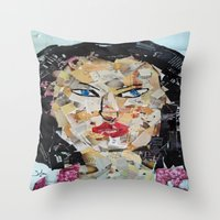 asian Throw Pillows featuring ANGRY ASIAN  by JANUARY FROST