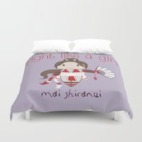 snk Duvet Covers featuring Fight Like a Girl - Mai Shiranui by ~ isa ~